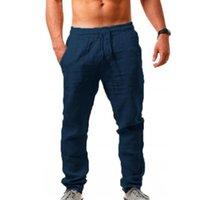 Мужские брюки брюки Ультратонкие дышащие мужские льняные Летние Jogger Bagge Aelstic Талия мальчиков Учебная улица Уличная одежда Мужская одежда Быстрый сухой
