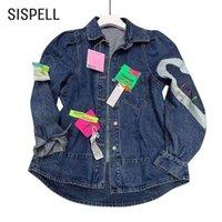 Sispell Patchwork Pin Tags Donne Denim Cappotto Colletto a risvolto Manica lunga Oversized per cappotti femminili Spring Streetwear 210531