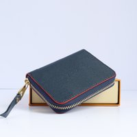 Top Quality Designer Wallets Coin Purses For Women Luxury 100% Genuine Leather Short Zip Pouch Money Card Holder With Box