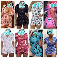 Mulheres Jumpsuits Designer Macacão Pijama Onesies Workout Botão Sexy Profundo V-Neck Senhoras Nightwear Shorts Bodysuit