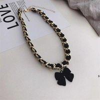 Bowknot Chokers Curto Interchersed com corda de couro cadeia larga acessórios elegantes colar de jóias DHD6438