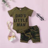 Simple Kids Kids Sets Little Homme de Vêtements Papa Lettre d'impression Boy Romper + Pantalon 100% coton Summer Kid Vêtements enfants