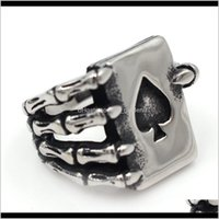 Band Biker Mens Punk Fashion Rings Party Jewelry Top Sales Stainless Steel Spade Poker Claw Cool Sier Ring Kka1952 Zhohy Maohz