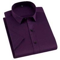 AOLIWEN Marca 2021 Camisa masculina Moda Casual Manga Curta Negócios Social Escritório Soft Dress Camisas