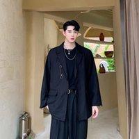 Мужские костюмы Blazers 2021men Блузка металлические украшения персонаж Баффи свободное пальто Две пряжки молодежного платья тенденция