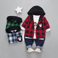남성의 후드 패션 디자이너 어린이 3 조각 가을 소년 어린이 격자 무늬 긴 소매 슈트 스웨터 청바지와 바지에 완벽한