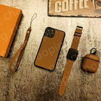 Fashion Classic Traje de tres piezas Cajas de teléfono Tapa de auriculares y correa de reloj para iPhone 12 11 Pro Max XS XR Regalos de cumpleaños de lujo