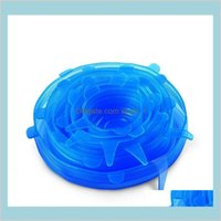 Other Kitchen, Dining & Bar Home Garden 6Pcs Set Silicone Stretch Suction Pot Lids Food Grade Fresh Keeping Wrap Seal Lid Pan Cover 4