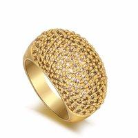 Обручальные кольца Стиль Мода Золотой Цвет Блестящий Кристалл Кристалл Дуговое кольцо, Роскошные Австрия Циркон Широкие Подарки для Женщины