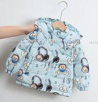 Niños abajo abrigo invierno oso letra chico niña bebé ropa exterior chaquetas ropa capucha abrigos infantil niños chaqueta 4 colores