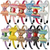 파티 용품 그라데이션 컬러 스팽글 나비 아동 무지개 활 머리띠 머리 액세서리 FWF8065
