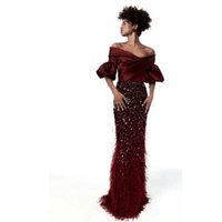 Elegant Burgundy Off The Shoulder Gown With Feather Embroidery Evening Dresses Custom Made Floor Length Zipper Back Mermaid Prom