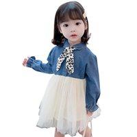 유아 소녀 데님 드레스 메쉬 드레스 여자를위한 꽃 메쉬 드레스 봄 가을 의상 여자를위한 210412