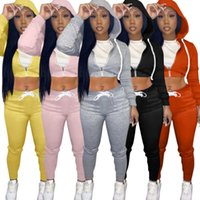Women Sweatpants And Hoodie Set Tracksuits Two Pieces Designer Fall Cardigan Short Navel Exposed Casual Sports Sweater Pants Ladies Outfits