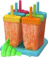 Kullanımlık Popsicle Kalıpları Araçları Buz Pop Maker 6 Set Silikon Huni FWF7522 ile