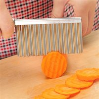 Küchenkochwerkzeug Edelstahl Gemüsefrucht Wellenförmige Fräser Kartoffel Gurke Karottenwellen Schneiden Slicer 539 R2