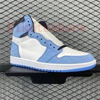 Universidad Blue Sports Sneaker 1 Top Top Zapatos Casuales Alto Entrenador al aire libre Encaje Lacio blanco Hombres Hyper Royal Skate Sneakers