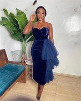 Aso Ebi Sexy African Sheath Cocktail Dresses with Tulle Tassels Sweetheart Short Prom Dress Velvet Black Girls Mini Formal Evening Gowns Custom Made