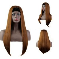 Synthetic Wigs 24 Inches Brown Straight Yaki Headband Wig Hair Head Band Machine Made Head-band For Black Women
