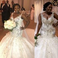 2021 Luxurious Plus Size Arabic Aso Ebi Sparkly Mermaid Wedding Dresses Lace Appliques Silver Beaded Crystal Bridal Gowns Spaghetti Strapss With Hand Made Flowers