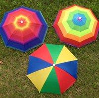 Parapluies extérieur pliable soleil chapeau de parapluie chapeau arc-en-ciel adulte enfants pêche pêche camping ombre plage headwear coip head hats sn665