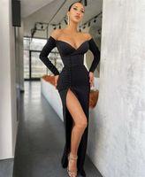 Gelinlik Modelleri Siyah Uzun Kollu V Yaka Spandex Saten Yan Yarık Mermaid Gelinlik Modelleri Fermuar Vestidos De Fiesta de Noche