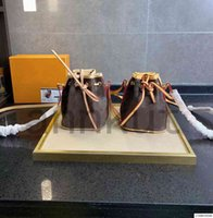 حقيبة دلو، مصغرة الأزياء ladi الحقيقي الرباط البني جلد النانو سرعة زهرة حقائب سوداء حمل زهرة نمط المواد الكلاسيكية
