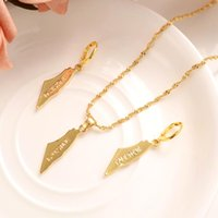 Gold Color Palestine Map Pendant Necklace Earrings Charms Party Jewelry Chain Men Women Wedding Bridal Mother Gifts &