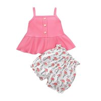Summer Baby Girls Clothes 2021 Infant Clothing Set Sling Top Jacket Cute Cartoon Animal Printing Shorts Two-piece Born Suit Sets