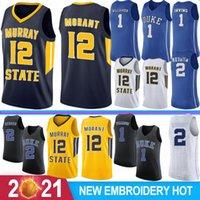 12 JA Morant Murray State Koleji Basketbol Formaları NCAA 1 Zion Williamson Duke Mavi Şeytanlar RJ 5 Barrett 2 Reddis J.J 4 Redick 32 Laettner