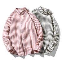 남자 스트라이프 캐주얼 셔츠 패션 트렌드 긴 소매 옷깃 버튼 탑 티 데저 남성 봄 새 플러스 크기 느슨한 셔츠