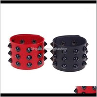 Jewelry1Pcs Leather Spike Bangle Wide Snap Button Wrap Bracelets Wristband For Men Women Gothic Rock Punk Bangle1 Drop Delivery 2021 Vdb