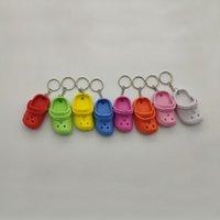 1pc 귀여운 3D 미니 에바 비치 홀 작은 악어 신발 키 체인 가방 액세서리 장식 열쇠 고리 열쇠 고리 매력