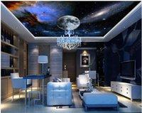 Custom Zenith Mural 3d Ceiling Murals Wallpaper For Walls 3 D Bar Restaurant KTV Club Universe Starry Sky Wallpapers