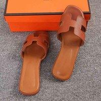 75 % OFF 공장 아울렛 판매 여성 H 슬리퍼 평면 신발 럭셔리 브랜드 디자인 사각형 발가락 여자 PU 가죽 숙녀 여름 슬라이드 슬립 중공 샌들 BVK8