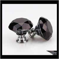 Handles Pulls Hardware Building Supplies Home & Garden Drop Delivery 2021 Fashion 30Mm Diamond Crystal Glass Door Knobs Der Cabinet Handle Kn