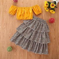 Kinder Kleidung Sets Mädchen Outfits Baby Kleidung Kinderanzüge Sommerkleidung Kurzarm Tops Blusen Leopard Print Kuchenrock 2 stücke B6186