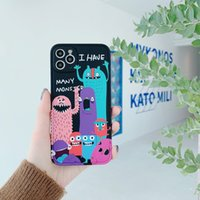 Rubik's cube frame phone cases with little colorful cartoon monster for iPhone 12 11 pro promax X XS Max 7 8 Plus