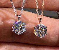 Choucong Nouvelle Arrivée Bijoux de luxe 925 Sterling Silver Ronde Coupée Blanche Topazz CZ Diamond Party Pendentif Femmes De Mariage Collier Gif 117 O2