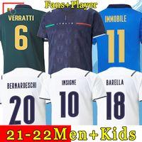 إيطاليا لكرة القدم جيرسي 2021 BARELLA SENSI INSIGNE 20 21 كأس أوروبا عصر النهضة CHIELLINI BERNARDESCHI قمصان كرة القدم للرجال + مجموعة الأطفال الزي الرسمي