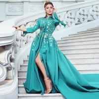Newest Front Split Evening Dresses Half Sleeve Hand Flower Formal Gown Beaded A Line Arabic Dubai Party Wears