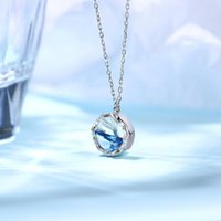 Pendant Necklaces Luxury Female Light Blue Necklace Charm Silver Color Chain For Women Classic Crystal Mermaid Fishtail