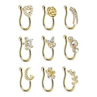 9Pcs Golden Helix Cartilage Clip On Wrap rings Fake Nose Ring Non-Piercing Hoop Cuff Earring Adjustable