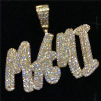 Nome personalizzato Lettere piccole Collana pendente Collana di fascino GIOIELLI CC Hip-Hop con catena di tennis d'argento oro