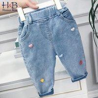 Юмор медвежонок для девочек карманные джинсы весна осень середины талии брюки одежда Корейский спорт любовь мода случайные дети брюки 210430
