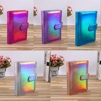 Holograficzna A5 A6 PU Skóra Notebook Pokrywa Rainbow Pierścień Spoiwo do Papieru Wypełniacza Pokrywa Spoiwa Papierowa Z Zamknięciem Klamra Magnetyczna Laser 802 B3
