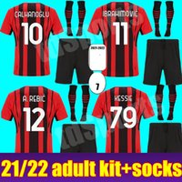 Kit de adultos de AC Milan 20 21 Ibrahimovic Home Alow Weeys Jerseys 2021 2022 Piatek Paqueta Theo Shirts Camisetas de fútbol Kits de hombres Uniformes