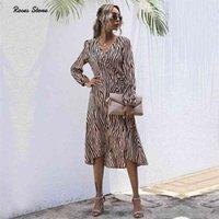 Moda Kadınlar Güz Wrap Elbiseler Uzun Kollu V Boyun Giysi Ofis Zarif Midi Frocks Bayanlar Bahar Autmn Zebra Stripes Için 210806