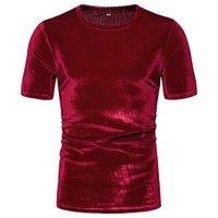 est 여름 남성 벨벳 T 셔츠 짧은 소매 벨벳 빈티지 높은 거리 탑스 의류 티 3XL Mujer Camisetas 남자 티셔츠