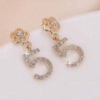 Dangle & Chandelier DE157 Fashion Beautiful Elegant 4A Zircon Flower With Numbers 5-Ear Stud GIRL'S Gift Party Banquet WOMEN'S Jewelry Earri